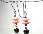 Pink Opal Earrings with Dangling Bali Silver Heart - Valentine's Day Gift, October birthstone, birthday gift