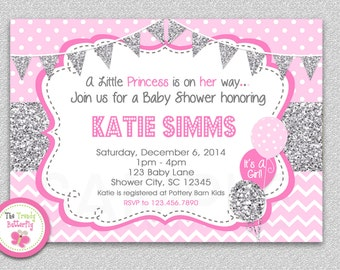Pink and Silver Glitter Baby Shower Invitation , Polka Dot Baby Girl Shower Invitation , Baby Shower Invitation, Pink and Orange
