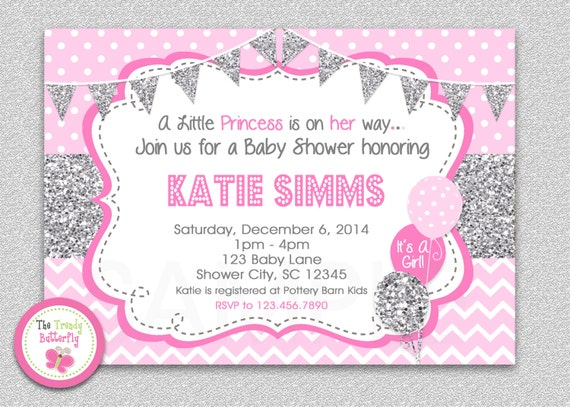 pink and silver glitter baby shower invitation polka dot baby girl