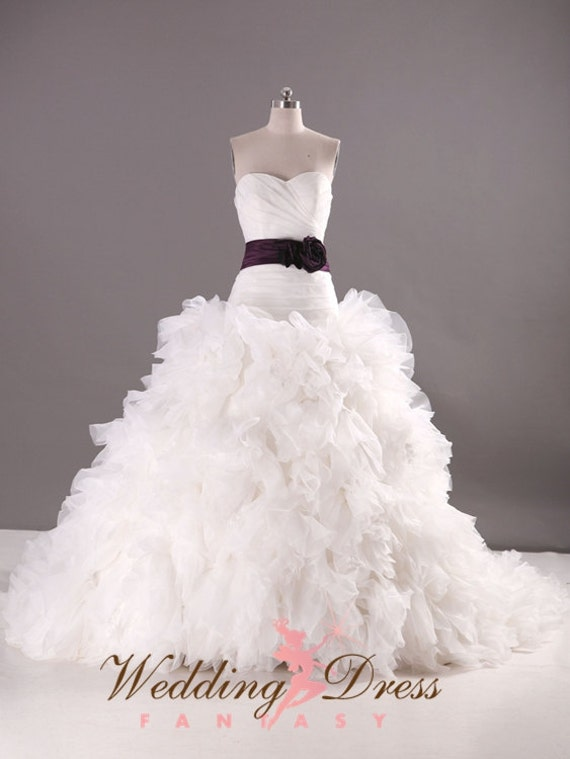 Organza wedding dress ballgown drop waist by for Sweetheart neckline drop waist wedding dress