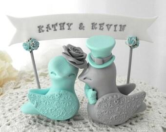 Wedding Cake Topper Love Birds, Robins Egg Blue and Grey, Custom Banner - Bride and Groom Keepsake