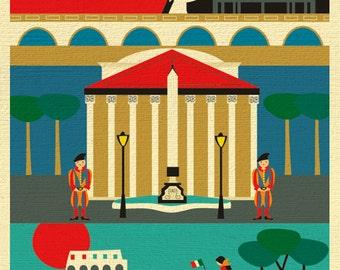 Rome Print, Rome Wall Art, Italy Travel Poster, Rome Map, Rome Gift, Rome Nursery, Italian Baby, Rome Decor, Rome Art - style E8-O-ROM