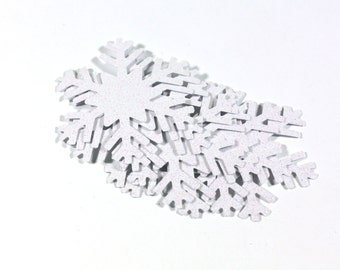 3, 10, 20, 50 Large White Glitter Snowflake Cut Outs Cardstock Die Cut Party Decorations Frozen Snowflakes Princess Elsa 2.25 inch punchies