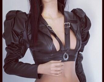 Black Cropped Jacket LEATHERETTE Harness Bolero Steampunk Gothic Wedding Bridal CHRISST