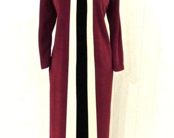 SALE vintage color block lounge coat - 1970s zip-front full length lingerie robe