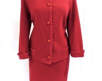 SALE vintage wool skirt set - 1950s-60s Koret wine-colored blazer, pencil skirt & cropped pants set