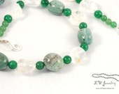 Green, White, Beaded, Gemstone Necklace, African Turquoise, Clear Quartz, Emerald Aventurine, Lobster Clasp, simple necklace, gift for her,