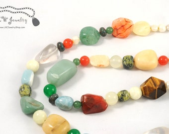 Multigemstone, Colorful, Yellow, Orange, Green, bead , Beaded Necklace,handmade necklace, simple necklace, gift for her, ooak, Necklace,