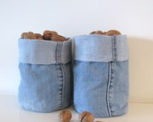 light blue denim bucket - fabric containers - shelf storage - fabric basket - fabric storage box - basket - lego container