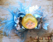 OTT - Over the Top Cinderella Cutie Boutique Style Hair Bow Light Blue Silver White
