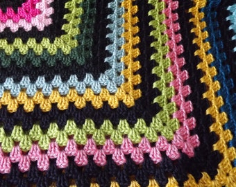 Large Crocheted Classic Style Granny Square Blanket Throw Shades of Yellow Green Blue Pink Green Black