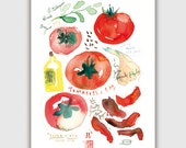 Sun-dried tomato recipe print, Watercolor tomato painting, Vegetable print, Italian food, Kitchen art, Red Home decor, Food poster, Food art