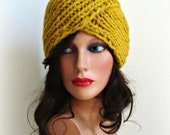 Must-Have Knitted Turban - Handmade Mustard Turban Hat - Original Look - Women Knitted Beanie - Winter Fashion - Yellow Hat