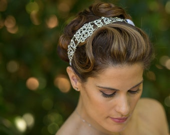 Michelle - Large Vintage style Silver Jeweled Ribbon Headband