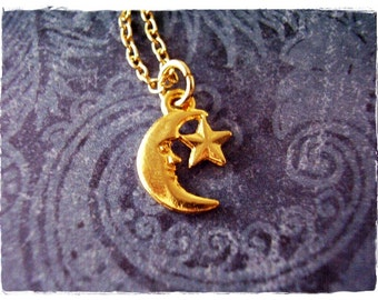 Tiny Gold Crescent Moon and Star Necklace - Gold Pewter Crescent Moon and Star Charm on a Delicate Gold Plated Cable Chain or Charm Only