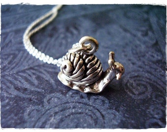 Silver Snail Necklace - Sterling Silver Snail Charm on a Delicate Sterling Silver Cable Chain or Charm Only