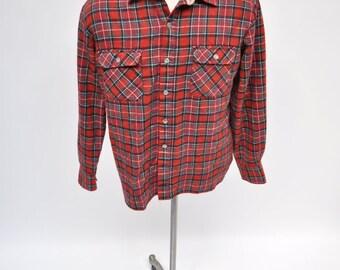 vintage plaid flannel shirt lumberjack medium soft plaid acrylic