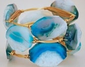 Gemstone Bangle- Sky Blue Fire Agate and Gold Wire