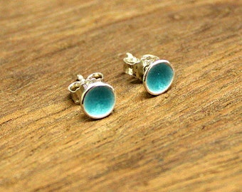 Silver Stud Earrings /  transparent turquoise enameled / Round Sterling Silver Ear Studs / Turquoise Enamel / Fire enamel