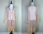 Vintage Peach Robe / 90s Mesh Jacket / Button Up / Maxi Floral Dressing Gown / Pink Orange Embroidery Lingerie Florissant OS XXL