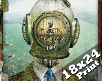 scuba diving helmet deep sea diver steampunk poster antique industrial sci fi fantasy robot art | oddities steam punk nautical 18x24 print