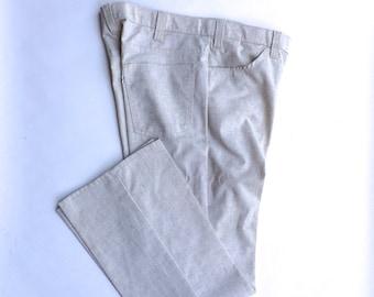 36x29 Levi's 60s 70s New Vintage Tan Gentleman Jeans   Lightweight Cotton Flat Front Pants Slacks   36 waist