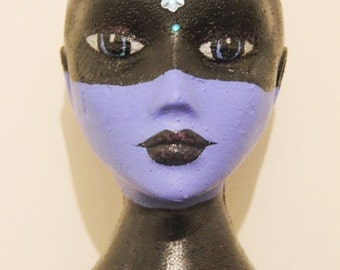 Sale! Blue Black Masked Hand-Painted Mannequin Head Wigs & Hats Stand