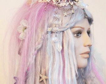 Mermaid Wig - Custom Made with Shell Crown + Pearl Beads + Plaits