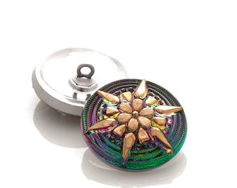 Czech glass button - 23mm green and gold flower button - 3525/10