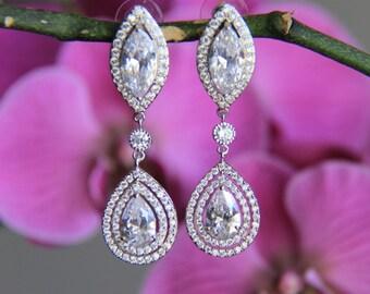 Sparkle filled cz earrings, cubic zirconia earrings, wedding jewelry, bridal jewelry, wedding earrings, bridal earrings