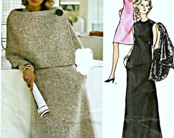 1970's Vogue Couturier Dress and Cape Pattern  Sybil Connolly  VOGUE 2739  UNCUT Factory-Folded with LABEL!!  Bust 32-1/2