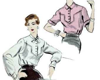 1950's Vintage Blouse Pattern  Vogue 7918  1953 Blouse with Angular Yoke Insert  Bust 32