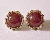Brown Rust Pierced Stud Earrings Gold Tone Vintage Round Surgical Steel Post Domed Lucite Center Discs