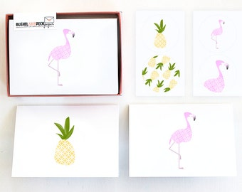 Tropical Stationery Set - #Flamingos #Pineapples