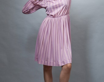 vintage 1970s secretary dress pink textured stripes ruffles L XL LARGE Extra Large