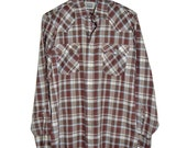 Vintage LEVIS Western Lightweight Plaid Shirt M Medium Snaps Buttons Silver Threads