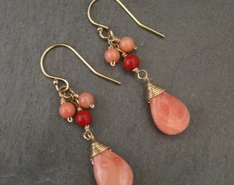 Coral earrings, salmon coral, red coral, genuine coral earrings, coral dangle
