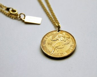 Virgo -  Necklace - Constellation - Zodiac - Charm - Necklace - Vintage - Coin - Humor - Astrology - Jewelry -  Mature