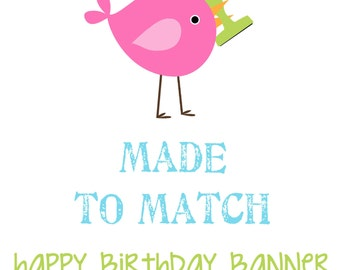 MADE to MATCH: Large Circle Scallop Happy Birthday Banner. Personalized. Pick from any theme in the shop. First Birthday. Birthday Banners.