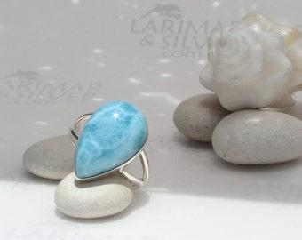 Larimarandsilver ring size 8, Aquatic Turquoise - undersea blue Larimar pear, turquoise larimar, Atlantis stone ring, handmade Larimar ring