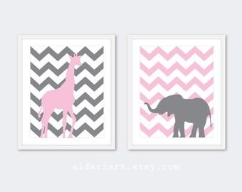 Giraffe and Elephant Chevron Art Prints - Nursery Print Set - Pink and Grey - Modern African Safari Animals Wall Art