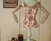 Dress Form Mannequin with Arms Floral Striped Fabric Ribbon Rosettes Decoupaged Painted Mint Green Vintage Dried Flowers **Ready to Ship**