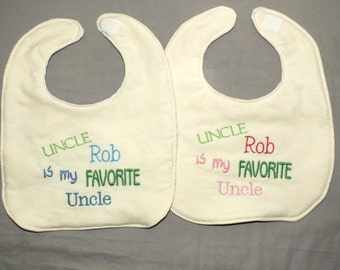 Personalized my favorite uncle bib baby boy uncle bib baby girl uncle bib