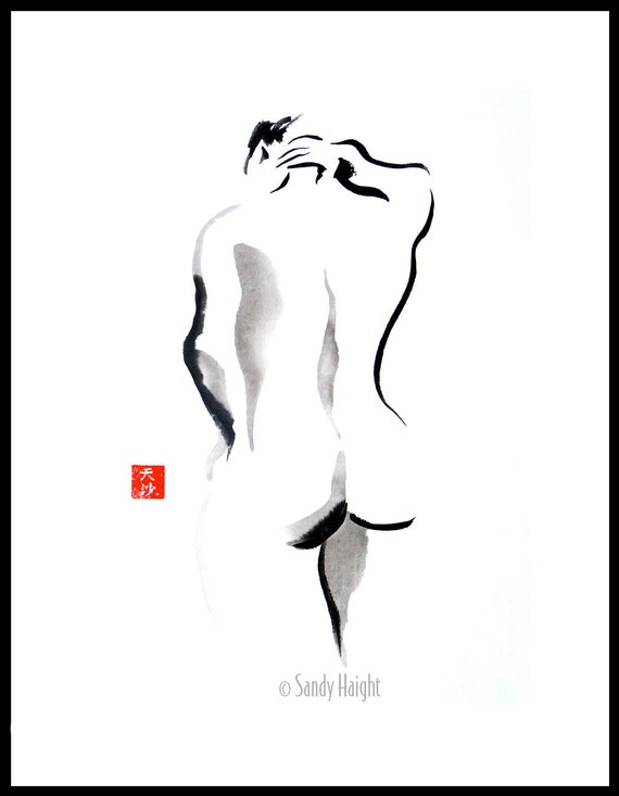 Original Sumi framed figure painting, 25% OFF SALE, brush & ink, nude, back, female, woman, black 'n white, home decor, wall art, gift, life