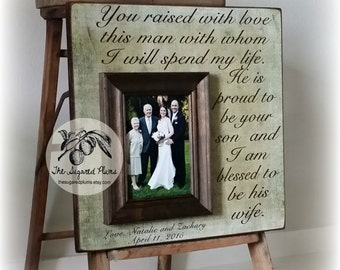 Parents of the Groom Gift, Mother of the Groom, You Raised With Love, Parents of the Groom Frame, Wedding Gifts For Parents, 16x16