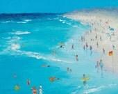 Beach Painting, swimming art, ocean painting, seascape, beach art, beach decor, coastal, beach house art, beach cottage decor,Etsy Art