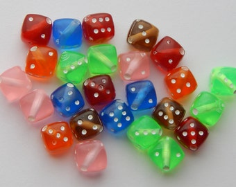 Acrylic Jewelry Beads - 8mm Square Dice Beads, Assorted Mixed Colors, Rounded Edges, Translucent, 25 Pieces