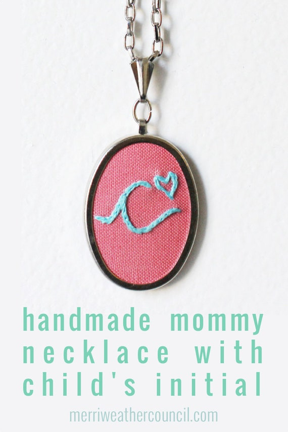 Letter Necklace. Hand Embroidery Initial Necklace, Personalized Pendant. Mother Jewelry with Child's Initial. Gift for Mom, Grandmother.