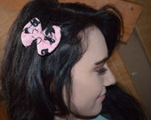 Pink - Black - Cat - Small Hair Bow - Cotton - Single Prong Alligator Clip