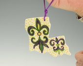 Double Sided Louisiana State Ornament Hand Painted Mardi Gras Fleur De Lis New Orleans Holiday